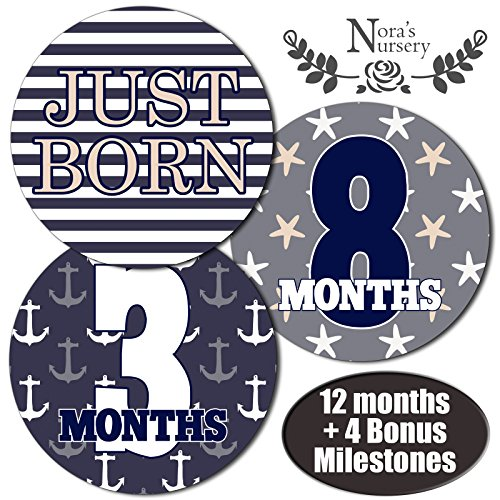 Nautical Baby Monthly Stickers - Great Shower Gift or Scrapbook Photo Keepsake (Football Diaper Cake compare prices)