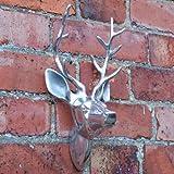 Aluminium Wall Mountable Silver Stag's Head for Home or Garden