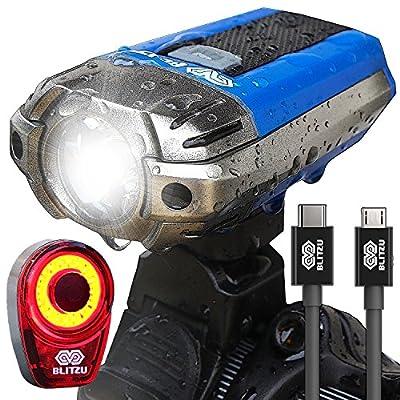 Best USB Rechargeable Bike Light - Blitzu Gator 390 Lumens Headlight - Front Light & LED Bike Tail Light Set. Waterproof - Cycling Safety Commuter Flashlight For Mountain