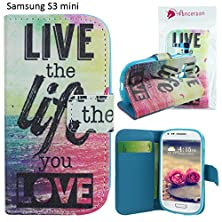 buy Ancerson® Pu Leather Wallet Case For Samsung Galaxy S3 Mini Colorful Printed Flip Folio Stand Built In Credit/ Id Card Slot Protective Shell Skin (Live Life Love Purple Red Green Ocean)
