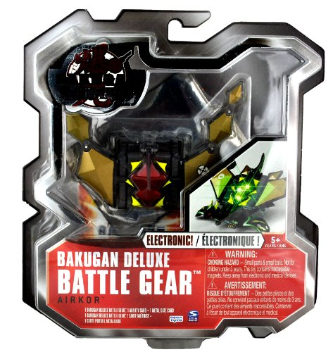 Spin Master Year 2010 Bakugan Gundalian Invaders Deluxe Electronic Battle Gear Set - Attachable Wings AIRKOR (Gold) with 1 Ability Card and 1 Metal Gate Card - 1