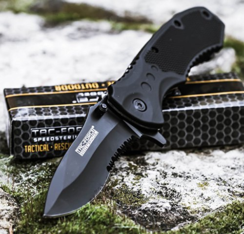 TAC-FORCE-BLACK-TACTICAL-Pocket-Knife-Folding-Blade-NEW
