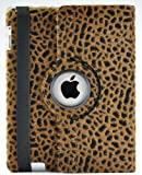 LiViTech(TM) Cheetah Fur PU Leather Pattern 360 Degress Rotating Stand and cover for Apple iPad 3 or iPad 2 (Light Brown)