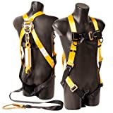 X XBEN Safety Harnesses with Fall Protection Lanyards, Full Body Harness for Construction Roofing, Climbing, Tree Trimming, Fall Arrester System with Single Leg Snap Hook, 6 Foot (Color: Fall Arrest Kit)