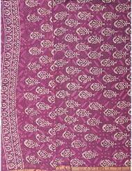 Exotic India Mulberry-Purple Block-printed Chanderi Salwar Kam - Mulberry Purple