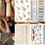 10-Sheets-Premium-Metallic-Tattoos-100-Shimmer-Designs-Body-Temporary-Flash-Metallic-Fake-Jewelry-Tattoos-Necklaces-Bracelets-Feathers-Wrist-Bands-Infinity-Love-Turquoise-Sticker-Black