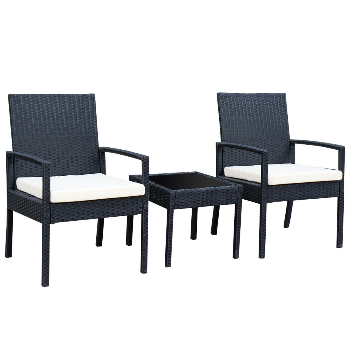 Tangkula 3 PCS Outdoor Rattan Patio Furniture Set Backyard Garden Furniture Seat Cushioned (black)