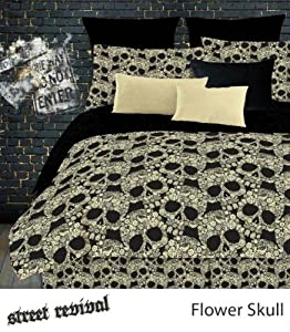 Veratex Bedroom Decorative Flower Skulls Sheet Set D.King Black/Tan