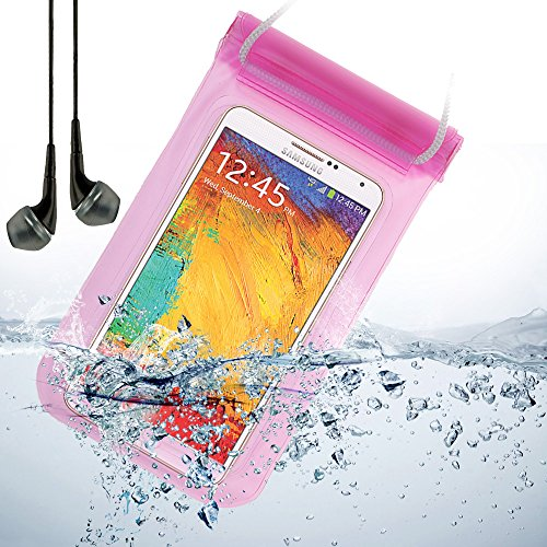 Universal Waterproof Bag Case For Samsung Galaxy Note 3 / Note 2 / S5 / Lg G2 / Lg G3 / Motorola Droid Maxx + Vangoddy Black Headphone With Mic (Pink)