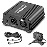 Aokeo 1-Channel 48V Phantom Power Supply with Adapter, BONUS+XLR 3 Pin Microphone Cable for Any Condenser Microphone Music Recording Equipment (Color: Wall Adapter)