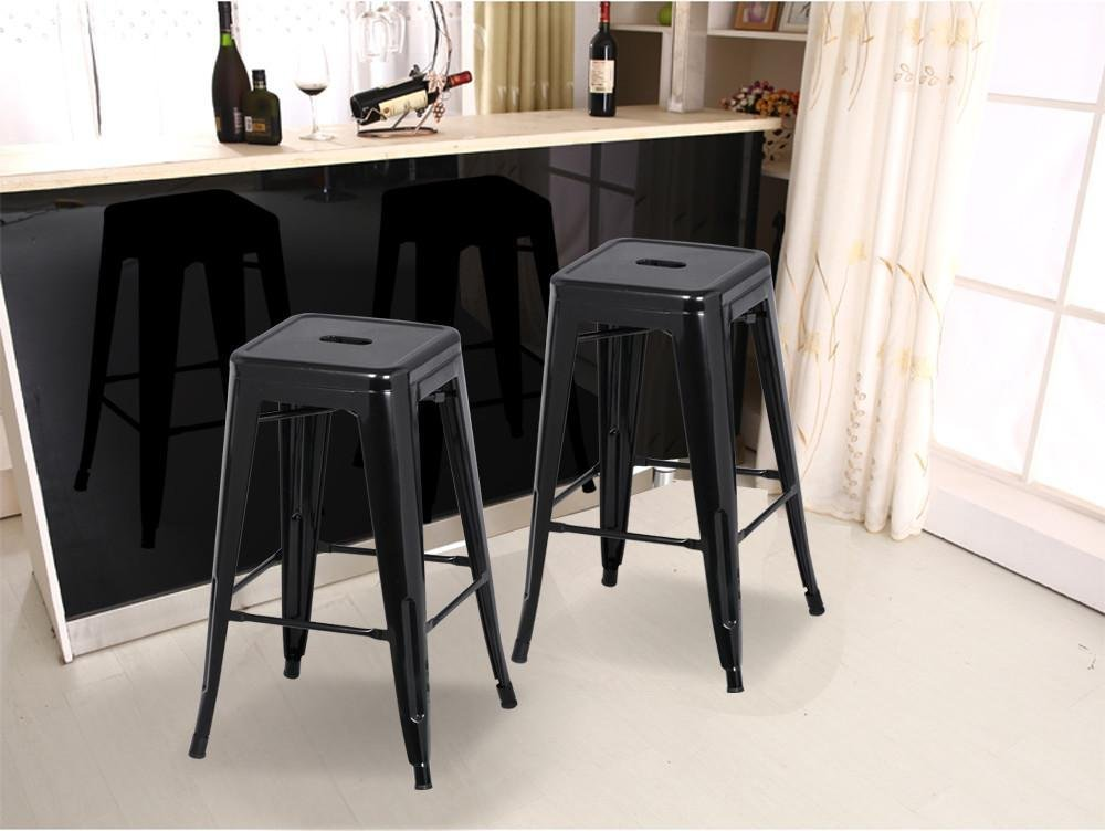 go2buy 6 PCs 26'' Metal Frame Bar Stools Vintage Counter Bar Stool Heavy Duty Black 4