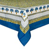 Couleur Nature Bleuet Tablecloth, 59-inches by 59-inches, Blue/Green