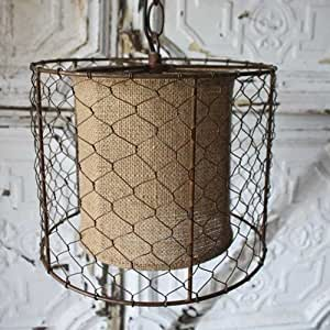 Amazon Pendant Light Lamp Rustic Chicken Wire Shade