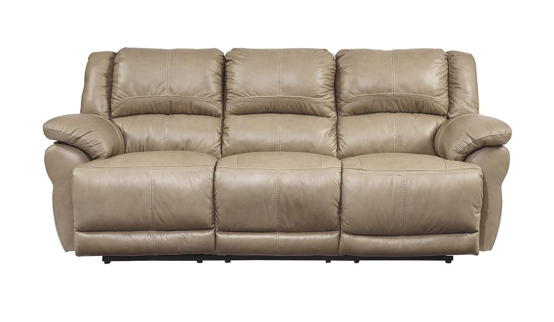 Ashley Lenoris Leather Power Reclining Sofa in Caramel