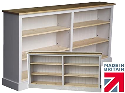 100% Solid Wood Bookcase, 3ft Tall x 6ft Wide White Painted & Waxed Adjustable Display Storage Shelving Unit. No flat packs, No assembly (BK8-CP)