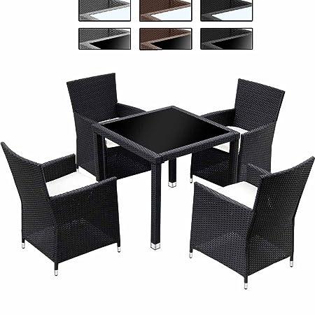 Conjunto de mesa y 4 sillas de jardín de poliratán negro