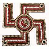 Suman Creations Acrylic Swastik Standalone With Om Extra Jumbo Showpiece (0.5X16.51X12.7, Red)