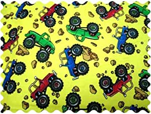 Sheetworld monster trucks fabric by the for Monster truck fabric