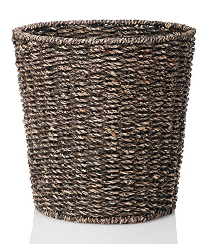B&C Homegoods Woven Espresso Seagrass Waste Bin, Waste Paper Basket for Bedroom, Kitchen, Bathroom or Office - Woven Trash Can - Versatile wastebasket for garbage and rubbish (Colored Trash Can With Lid compare prices)