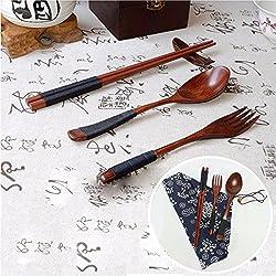 LussoLiv Japanese Natural Wooden Chopsticks Spoon Fork Tableware