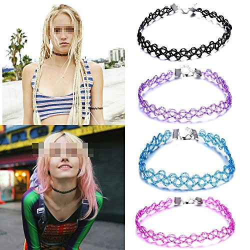 Wowlife Assorted 5 Color Vintage Stretch Retro Henna Elastic Tattoo Necklaces