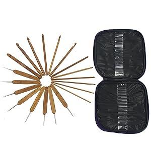 Mixed Aluminum Handle Crochet Hooks Kit Bamboo Knitting Knit Needles Weave Yarn 2 Set 42 PCS with Case