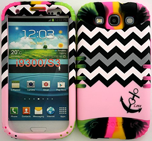 Hybrid Impact Rugged Cover Case Baby Pink Block Chevron Anchor Hard Plastic Snap On Over Two Tone 3 Silicone For Samsung Galaxy Slll S3 Fits Sprint L710, Verizon I535, At&T I747, T-Mobile T999, Us Cellular R530, Metro Pcs And All front-375372