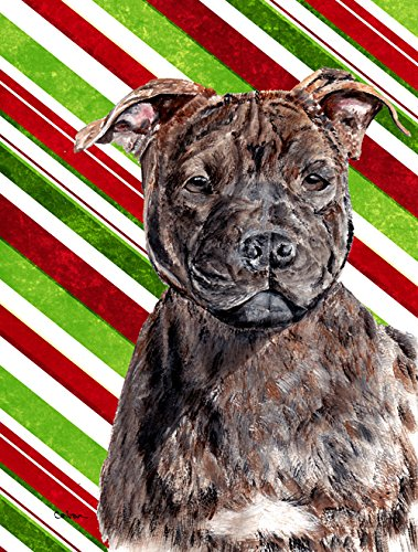 Staffordshire Bull Terrier Staffie Candy Cane Christmas Flag Garden Size Sc9801Gf From Caroline'S Treasures front-98098