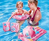 Kids Pink Swimming Pool 5 Piece Set Inflatable Beach Ball, Ring, Armbands and Surfer
