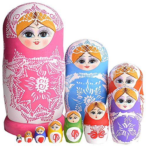 Cute-Little-Girl-Princess-With-Snowflake-Pattern-Colorful-Handmade-Wooden-Russian-Nesting-Dolls-Matryoshka-Dolls-Set-10-Pieces-For-Kids-Toy-Birthday-Christmas-Gift-Home-Decoration
