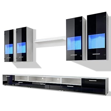 vidaXL Meuble TV à vitrine murale Noir avec lumière LED Bleu 8 Pièces