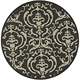 "Safavieh Courtyard Collection CY2663-3908 Black and Sand Round Area Rug, 6 feet 7 inches in Diameter (6'7"" Diameter)"