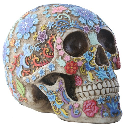 Day of The Dead Sugar Skull Floral Skull Statue