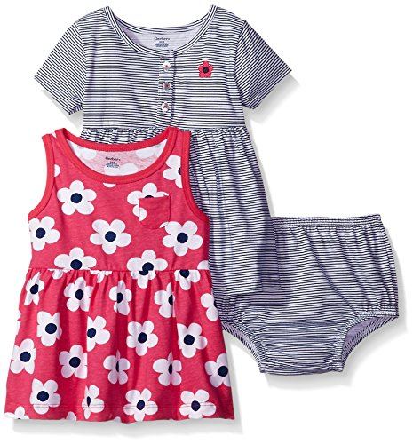Gerber Baby Three-Piece Dress and Diaper Cover Set, Big Flowers/Exclusive, 6-9 Months