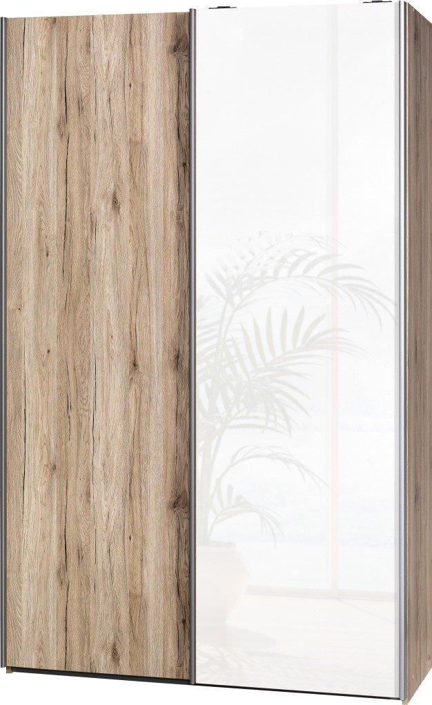 """Schwebetürenschrank """"Soft Plus Smart Typ 40"""", 120 x 194 x 42cm, Sanremo hell/Sanremo hell/Weiß hochglanz"""