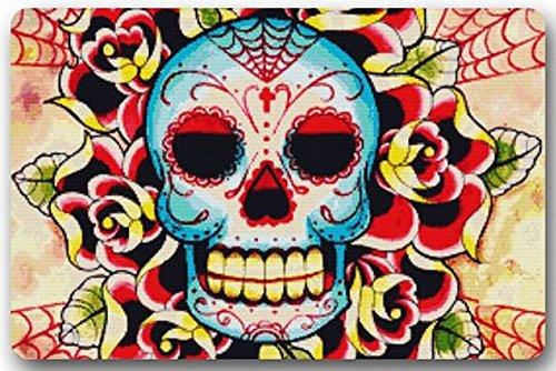 Old Tin Sign Concert Posters Dia De Los Muertos Suger Skull and Flower Neoprene Kitchen Decor Metal Poster