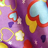 Purple Satin Fabric with Multi Hearts Flowers and Clouds Per Metre