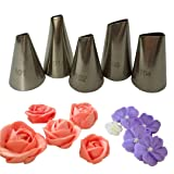Meao 5 Pieces Piping Tips Set - Stainless Steel Piping Nozzles Kit for Pastry Cupcakes Cakes Cookies Decorating (Color: Silver)