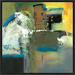29in x 29in Abstract in Green I by Natasha Barnes - Black Floater Framed Canvas w/ BRUSHSTROKES