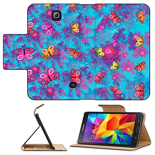 Luxlady Premium Samsung Galaxy Tab 4 7.0 Tablet Flip Pu Leather Wallet Case IMAGE ID: 37799933 Stylized butterflies on pink blue fractal rosebud pattern computer generated graphic