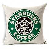 E-sunshine® Cotton Blend Linen Square Throw Pillow Cover Decorative Cushion Case Pillow Case 18 X 18 Inches / 45 X 45 cm, Starbucks Coffee (green)