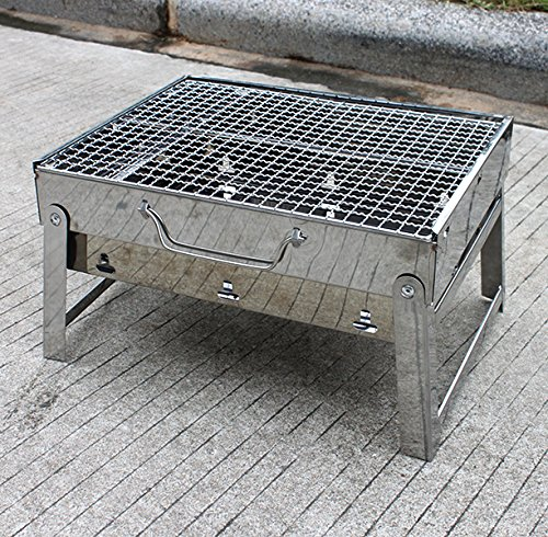 Agptek Portable Foldable Barbecue Stainless Steel Grill Hotspot BBQ Charcoal Grill Set