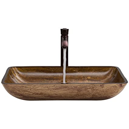 VIGO Rectangular Amber Sunset Glass Vessel Bathroom Sink and Otis Vessel Faucet with Pop Up, Oil Rubbed Bronze