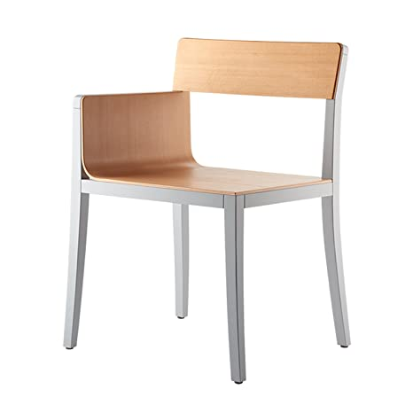 rosconi li-lith Design-Holzstuhl, 1 Armlehne rechts, Buche natur lackiert, grau decklackiert
