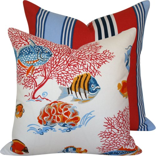 "Under the Deep Blue Sea Collection - Waverly Designer Boutique 20"" Square Throw Pillow Cover - Ocean Marine Life and Stripes - Blue, Navy, Orange, Yellow, Red, Grey, Brown and Ivory Hues - 1 Cover"