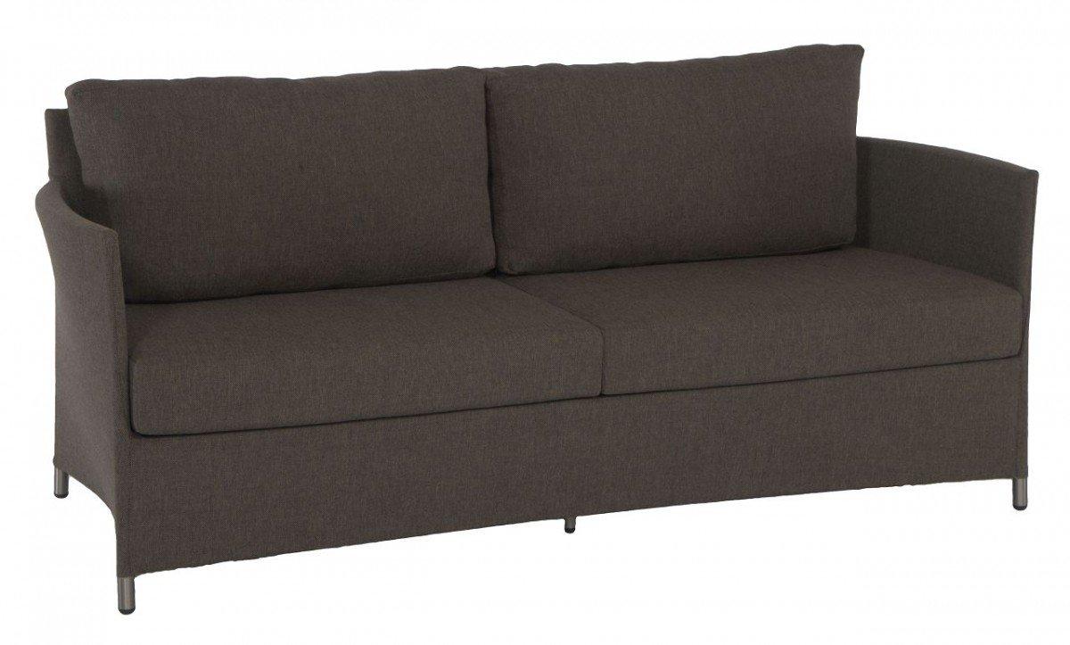 Dreams4Home Lounge Sofa 'Myra' – Sofa, Loungesofa, Gartensofa, Balkonmöbel,Terrassenmöbel, Loungemöbel, Gartenmöbel, inklusive Kissen, Metall, Aluminium, B/H/T: 188 x 75 x 77 cm, Aluminiumgestell, in coffee günstig kaufen