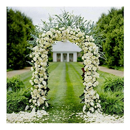 Adorox 7.5 Ft White Metal Arch Wedding Garden Bridal Party Decoration Arbor (1)