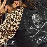 (ブラックバリア) BLACK VARIA Tシャツ スカル ドクロ 豹 ヒョウ柄 ラインストーン Vネック ロンT ブラック 1339146bv LL