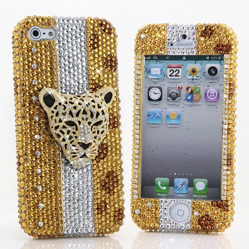 Great Sale BlingAngels® 3D Luxury Bling iphone 5 5s Case Cover Faceplate Swarovski Crystals Diamond Sparkle bedazzled jeweled Design Front & Back Snap-on Hard Case + FREE Premium Quality Stylus and Water-Resistant Bag (100% Handcrafted by BlingAngels) (Leopard Golden Cheetah Head)