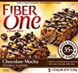 Fiber One Chewy Bars, Chocolate Mocha, 5-Count, 7oz Boxes (Pack of 6)
